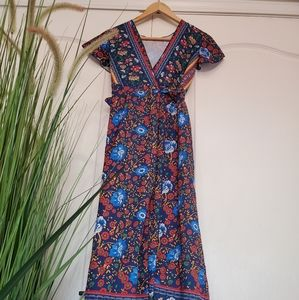 Size small Maroon floral Aztec dress wrap